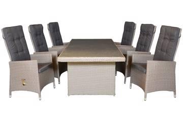 Blomia Høy rygg 6 stoler og bord, 220x100cm