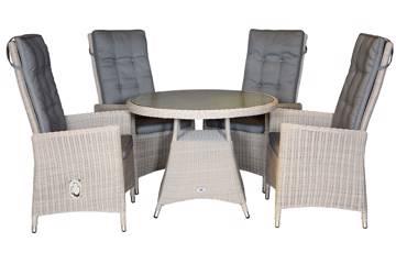 Calla Høy rygg 4 stoler og rundt bord, 100cm