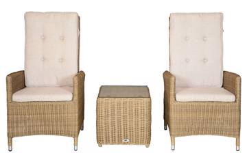 Ornata Høy rygg 2 stoler og firkantet kaffebord