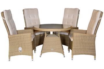 Ornata Høy rygg 4 stoler og rundt bord, 100cm