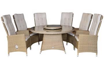 Ornata Høy rygg 6 stoler og rundt bord, 142cm
