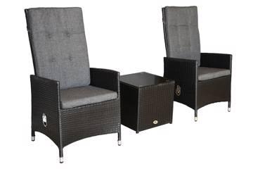 Solidago kaffesett, 2 stoler og firkantet kaffebord