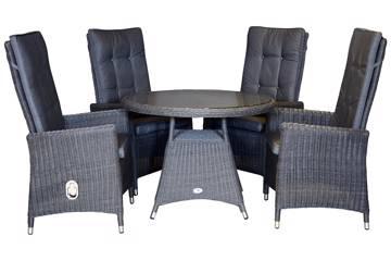 Maranta Høy rygg 4 stoler og rundt bord, 100cm