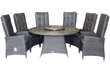 Maranta Høy rygg 6 stoler og rundt bord, 142cm