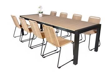 Uttrekkbart bord, 205/275x95cm, brun og 8 Limosa stoler, beige