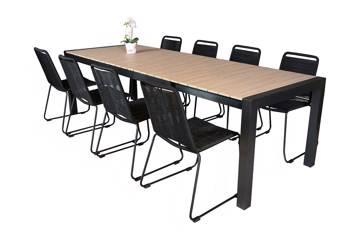 Uttrekkbart bord, 205/275x95cm, brun og 8 Limosa stoler, sort