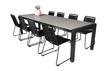 Uttrekkbart bord, 205/275x95cm, grå og 8 Limosa stoler, sort