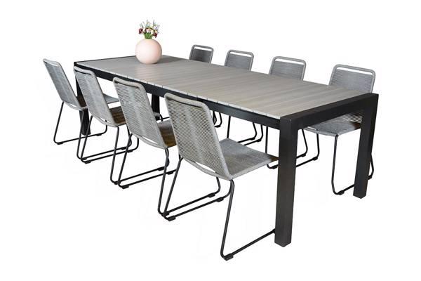 Uttrekkbart bord, 205/275x95cm, grå og 8 Limosa stoler, grå