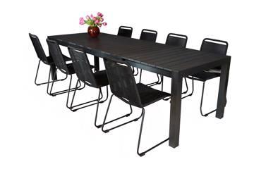 Uttrekkbart bord, 205/275x95cm, sort og 8 Limosa stoler, sort