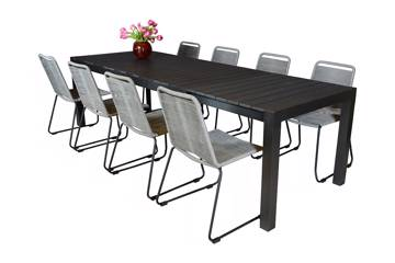 Uttrekkbart bord, 205/275x95cm, sort og 8 Limosa stoler, grå
