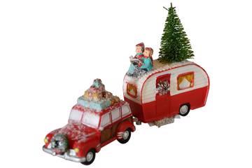 Julebil med campingvogn, lille