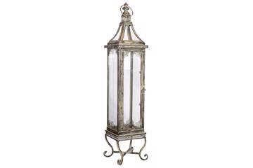 Slank lanterne på fot, antikk sølv