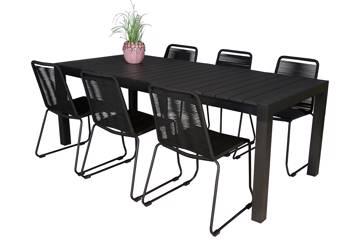 Uttrekkbart bord, 160/210x95cm, sort og 6 Limosa stoler, sort