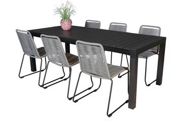 Uttrekkbart bord, 160/210x95cm, sort og 6 Limosa stoler, grå