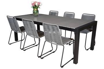 Uttrekkbart bord, 160/210x95cm, grå og 6 Limosa stoler, grå