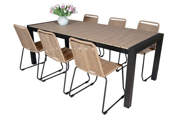 Uttrekkbart bord, 160/210x95cm, brun og 6 Limosa stoler, beige