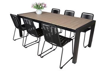 Uttrekkbart bord, 160/210x95cm, brun og 6 Limosa stoler, sort