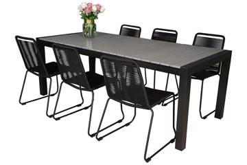 Uttrekkbart bord, 160/210x95cm, grå og 6 Limosa stoler, sort