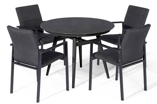 Avena rundt spisebord med 4 Avena Atro Spisestoler, mørk grå