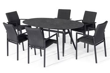 Avena ovalt spisebord og 6 Avena Atro stoler, mørk grå