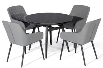 Avena rundt spisebord og 4 Avena stoler, grå
