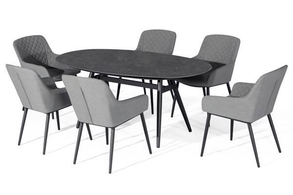 Avena ovalt spisebord og 6 Avena stoler, grå
