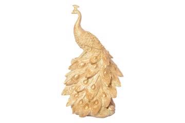 Sittende påfugl, gull