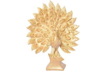 Påfugl med utslåtte fjær, gull