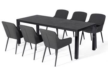 Avena rektangulært bord og 6 Avena stoler, mørk grå