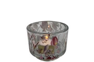 Lysglass i tykk glass, rosa motiv