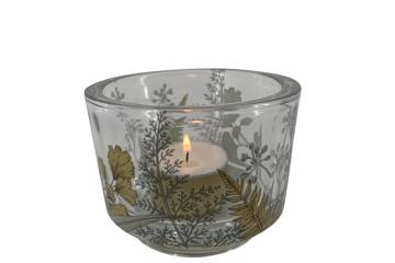 Lysglass i tykk glass, gull motiv