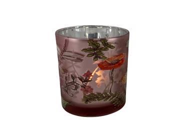 Lysglass med sommermotiv, rosa