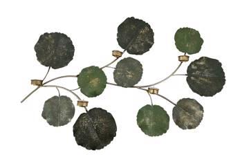 Leaf veggdekoration, metal, antikk kobber