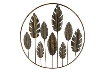 Leaf veggdekoration, metall, gull