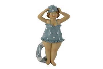Badedame med hatt, blå