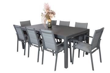 Montana spisesett med uttrekkbart bord og 8 stoler