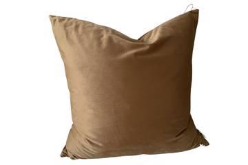 Putetrekk, Golden camel, shiny velvet, 60x60cm