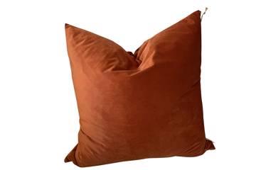 Putetrekk, Earthy orange, shiny velvet, 60x60cm