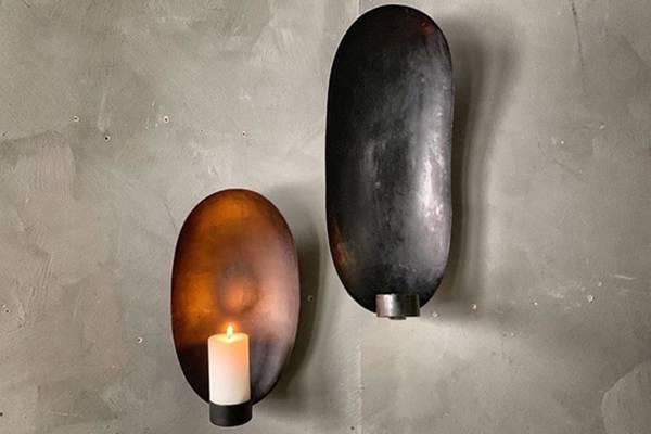 Lysholder vegg oval, stor, sort