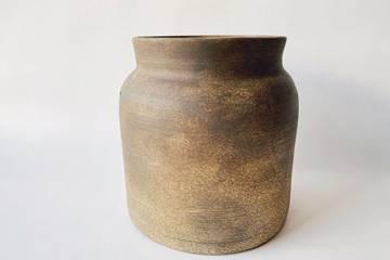 Keramikk krukke, mørk brun